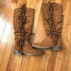 NWOT-Faux Suede Fringe Boots by JustFab
